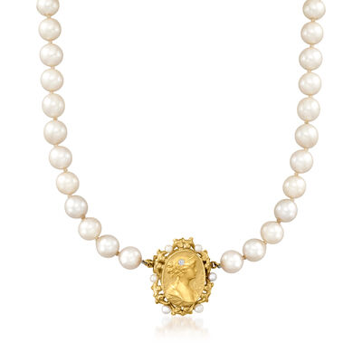 C. 1970 Vintage 7-7.3mm Cultured Pearl and 14kt Yellow Gold Cameo Necklace with Diamond Accent