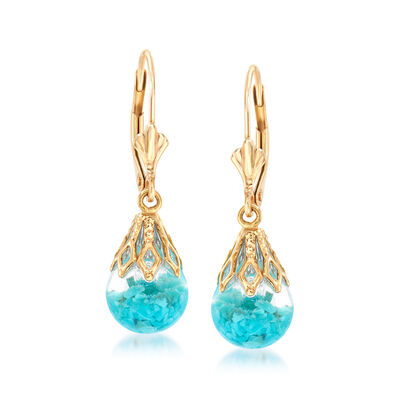 Floating Turquoise Drop Earrings in 14kt Yellow Gold, , default