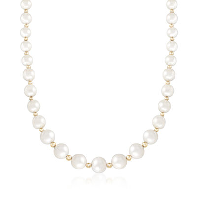 6-12mm Cultured Pearl Necklace with 14kt Yellow Gold, , default