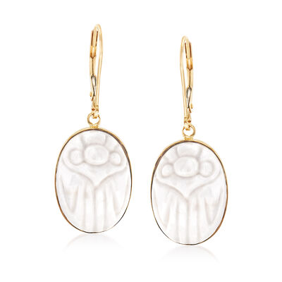White Agate Scarab Drop Earrings in 14kt Yellow Gold