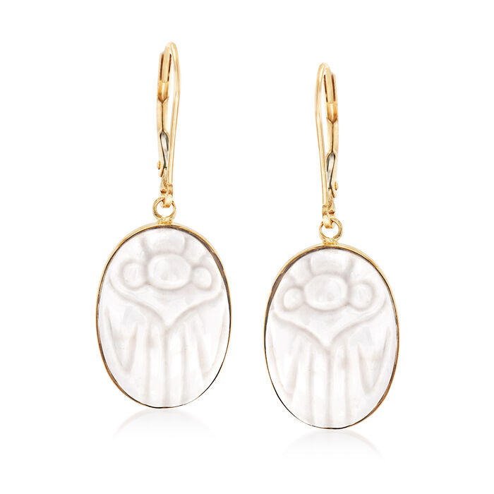 White Agate Scarab Drop Earrings in 14kt Yellow Gold