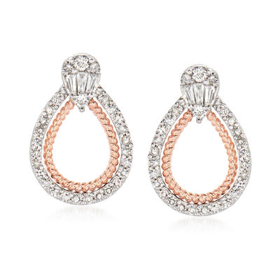 .50 ct. t.w. Diamond Doorknocker Drop Earrings in 14kt Two-Tone Gold
