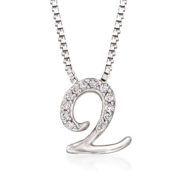 Sterling Silver Script Initial Pendant Necklace with Diamond Accents
