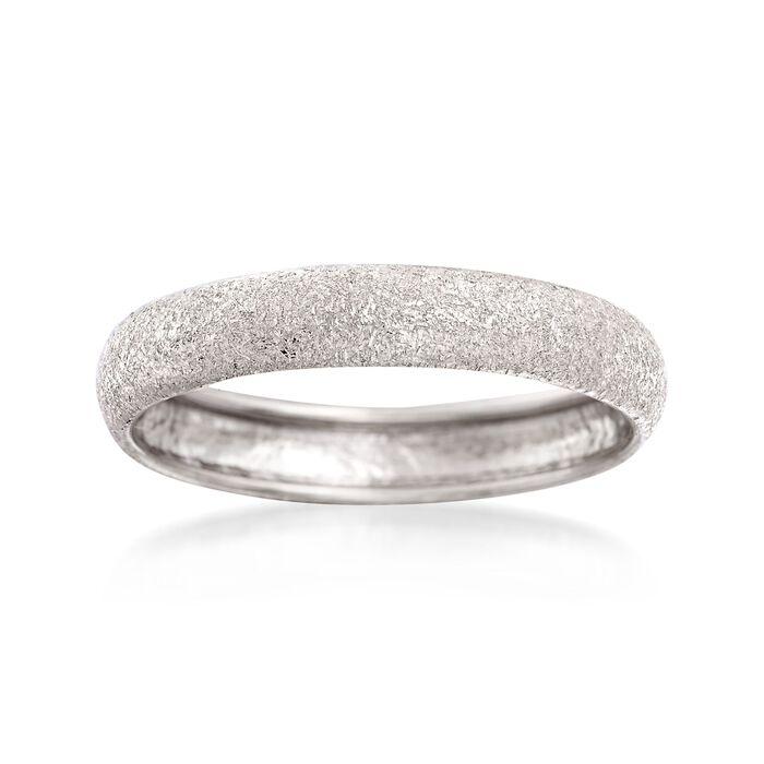 Italian 14kt White Gold Textured Ring