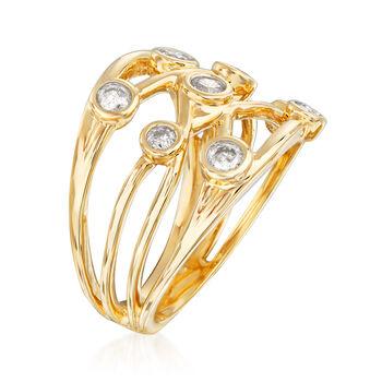 .50 ct. t.w. Diamond Bezel-Set Crisscross Ring in 14kt Yellow Gold, , default