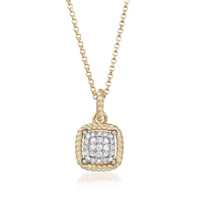 "Roberto Coin ""New Barocco"" .20 ct. t.w. Diamond Square Pendant Necklace in 18kt Yellow Gold"