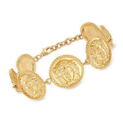 Italian Medusa Bracelet in 18kt Gold Over Sterling, , default