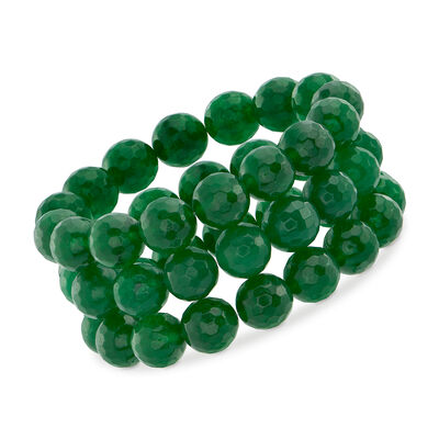 12mm Green Jade Bead Set: Three Stretch Bracelets