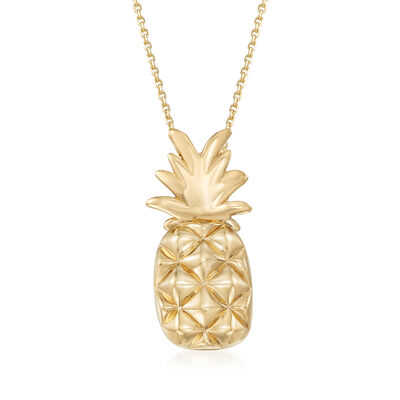 14kt Yellow Gold Pineapple Pendant Necklace, , default