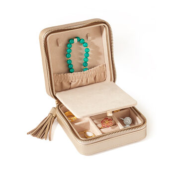 "Wolf Designs ""Caroline"" Champagne Zippered Travel Jewelry Case, , default"