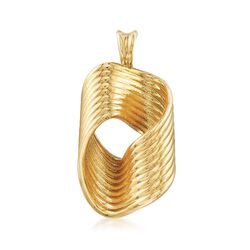 Italian Andiamo 14kt Yellow Gold Wavy Multi-Row Pendant, , default