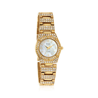 Saint James Women's 25mm Crystal and Mother-Of-Pearl Gold Plated Watch, , default