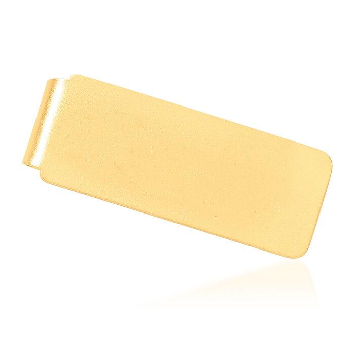 14kt Yellow Gold Brushed Engravable Money Clip, , default