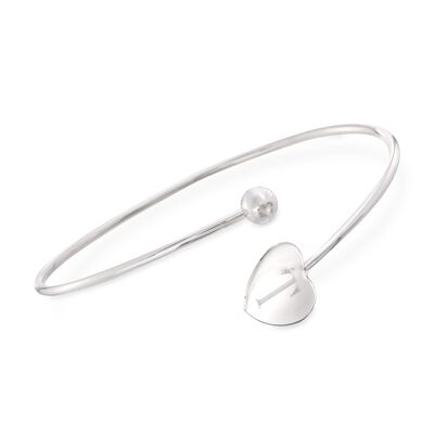 Italian Sterling Silver Single Initial Heart Bypass Bangle Bracelet, , default