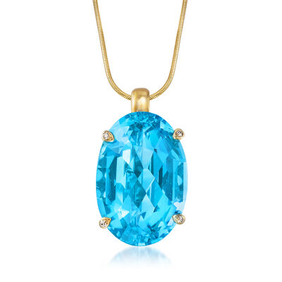 C. 1980 Vintage 79.00 Carat Blue Topaz Pendant Necklace With Diamond Accents in 14kt Yellow Gold, , default