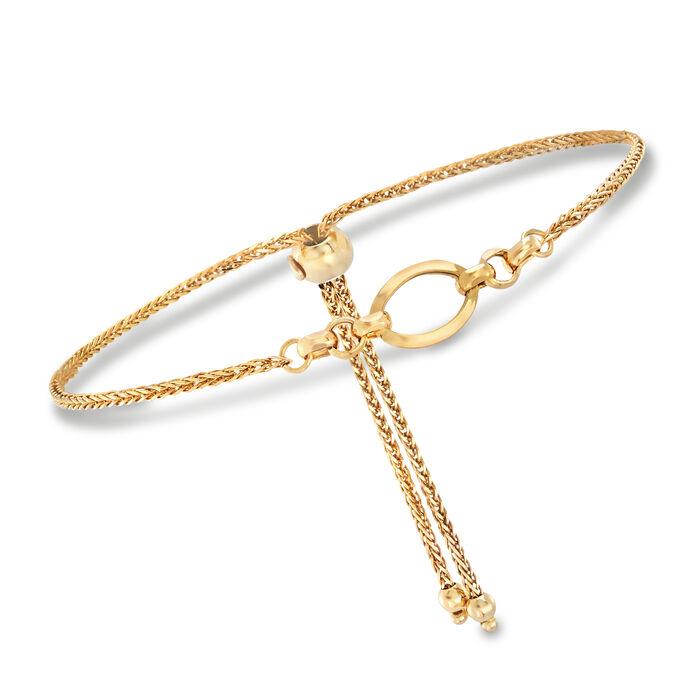 Italian 14kt Yellow Gold Open Oval Bolo Bracelet