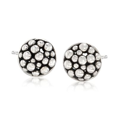 "Zina Sterling Silver ""Raindrop"" Round Stud Earrings, , default"