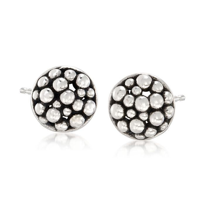 "Zina Sterling Silver ""Raindrop"" Round Stud Earrings , , default"