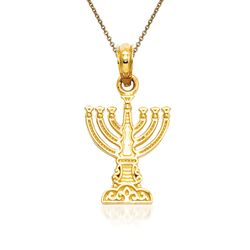 "14kt Yellow Gold Menorah Pendant Necklace. 18"", , default"