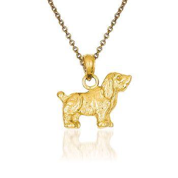 """14kt Yellow Gold Cocker Spaniel Pendant Necklace. 18"""", , default"""
