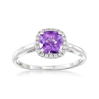 .80 Carat Amethyst and .10 ct. t.w. White Topaz Ring in Sterling Silver, , default