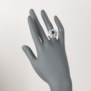 C. 1990 Vintage 1.42 Carat Sapphire and 2.60 ct. t.w. Diamond Ring in 18kt White Gold. Size 6.5, , default