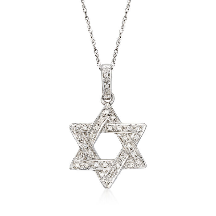 .18 ct. t.w. Diamond Star of David Necklace in 14kt White Gold