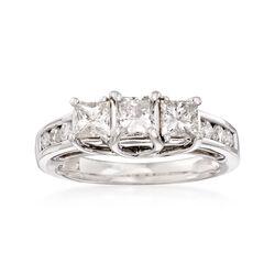 C. 1990 Vintage 1.40 ct. t.w. Diamond Three-Stone Ring in 18kt White Gold, , default