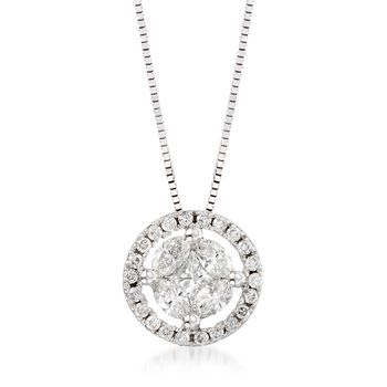 ".63 ct. t.w. Diamond Halo Pendant Necklace in 14kt White Gold. 18"", , default"