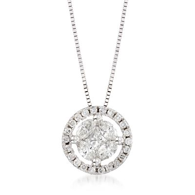 .63 ct. t.w. Diamond Halo Pendant Necklace in 14kt White Gold, , default