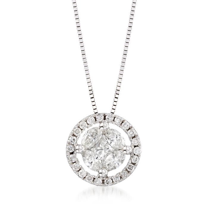 """.63 ct. t.w. Diamond Halo Pendant Necklace in 14kt White Gold. 18"""", , default"""