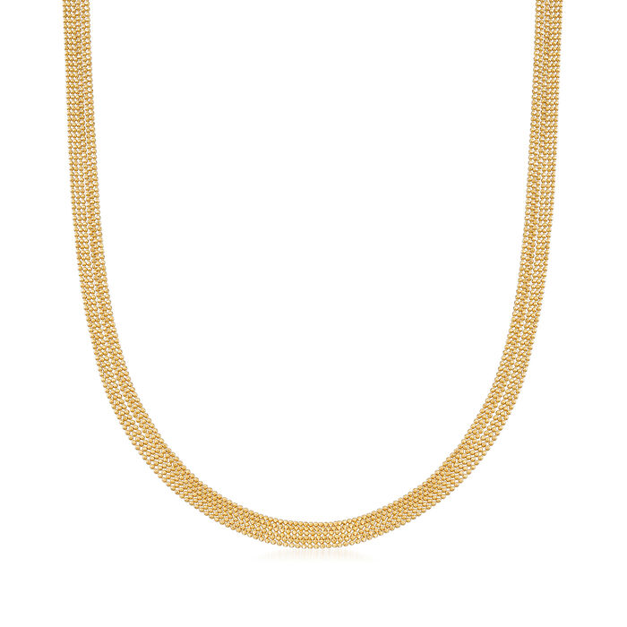 Italian 14kt Yellow Gold Six-Strand Bead Chain Necklace. 20""