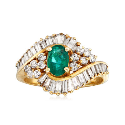 C. 1980 Vintage 1.25 ct. t.w. Diamond and .65 Carat Emerald Cluster Ring in 14kt Yellow Gold, , default