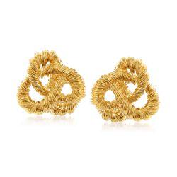 C. 2000 Vintage 18kt Yellow Gold Pretzel Twist Earrings, , default
