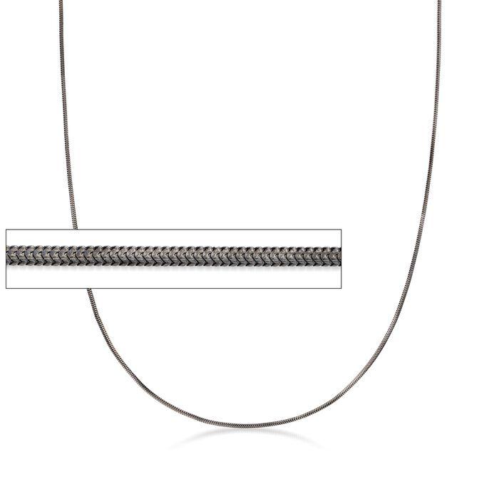 Italian Sterling Silver 1.2mm Adjustable Slider Square Snake Chain Necklace in Black, , default