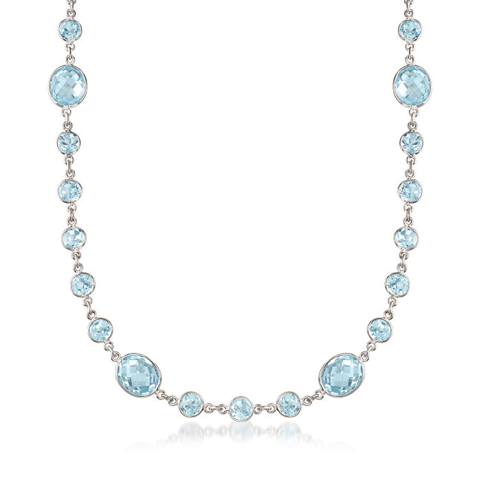 55.00 ct. t.w. Bezel-Set Blue Topaz Necklace in Sterling Silver, , default