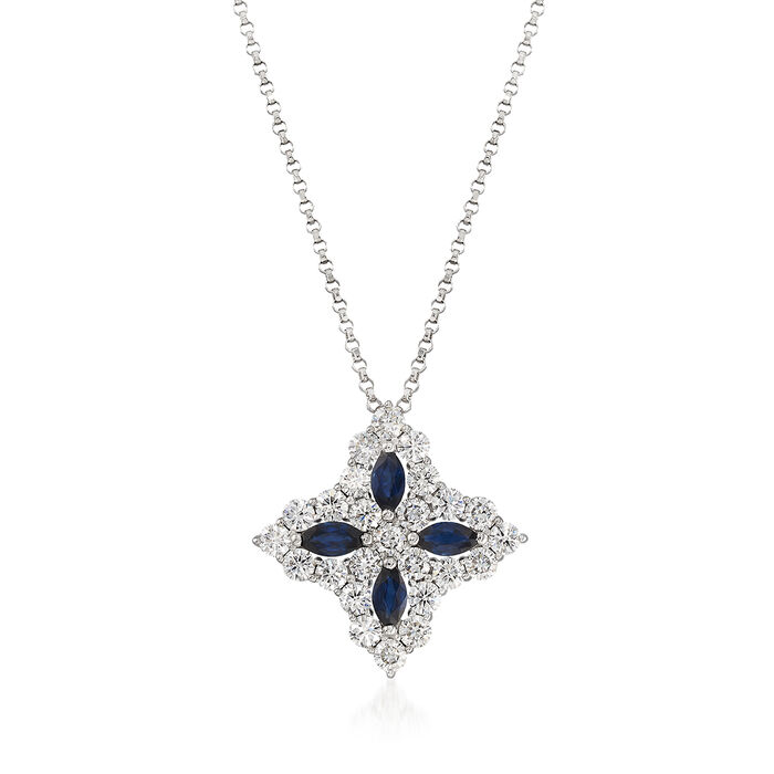 """Roberto Coin """"Princess Flower"""" 1.23 ct. t.w. Diamond and .65 ct. t.w. Sapphire Large Flower Pendant Necklace in 18kt White Gold. 16.25"""""""