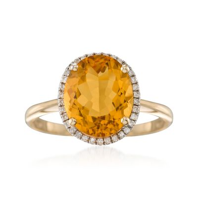 4.20 Carat Oval Citrine and Diamond Ring in 14kt Yellow Gold, , default