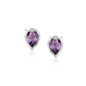 .70 ct. t.w. Amethyst Earrings With Diamond Accents in 14kt White Gold, , default