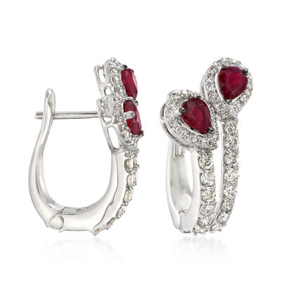 1.07 ct. t.w. Diamond and 1.02 ct. t.w. Ruby Drop Earrings in 18kt White Gold, , default