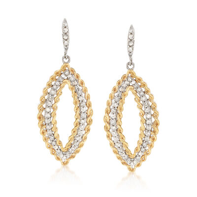 .50 ct. t.w. Diamond Open Marquise Drop Earrings in Two-Tone Sterling Silver, , default