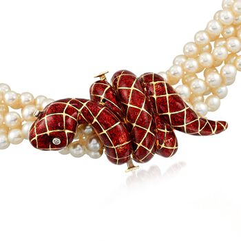 "C. 1990 Vintage 4mm Cultured Pearl and Red Enamel Snake Torsade Necklace in 18kt Yellow Gold. 17"", , default"