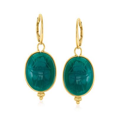 Green Chalcedony Scarab Drop Earrings in 18kt Gold Over Sterling