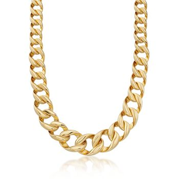 Italian Andiamo 14kt Yellow Gold Graduated Curb-Link Necklace, , default