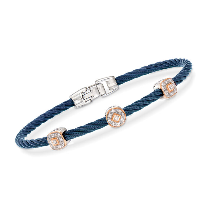 "ALOR ""Shades of Alor"" .14 ct. t.w. Diamond Blue Carnation Cable Station Bracelet in Stainless Steel and 18kt White and Rose Gold. 7"", , default"