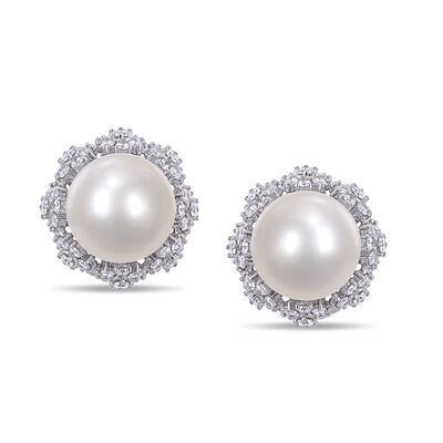 11-12mm Cultured South Sea Pearl and 1.96 ct. t.w. Diamond Filigree Earrings in 14kt White Gold
