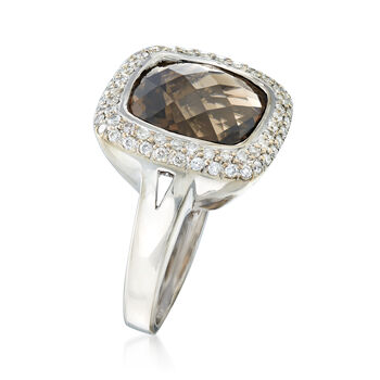 C. 1990 Vintage 6.00 Carat Smoky Quartz and .75 ct. t.w. Diamond Ring in 14kt White Gold. Size 6.5, , default