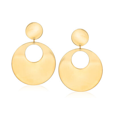 Italian 14kt Yellow Gold Open Circle Drop Earrings, , default