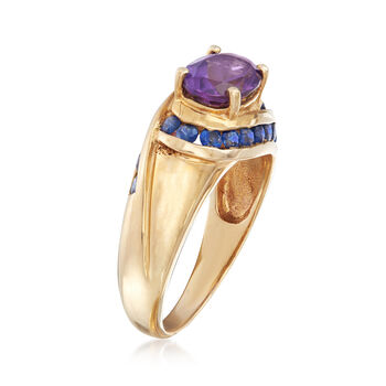 C. 1980 Vintage 1.25 Carat Amethyst and .50 ct. t.w. Sapphire Ring in 10kt Yellow Gold. Size 7, , default