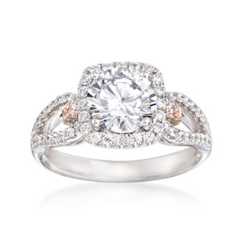 Simon G. .47 ct. t.w. Pink and White Diamond Engagement Ring Setting in 18kt Two-Tone Gold, , default